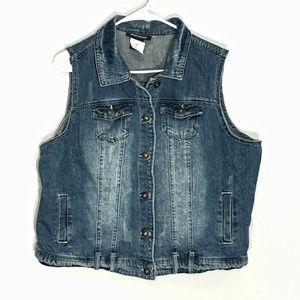 💥3/25 Ashley Stewart Jean Vest Size 14/16 NWT